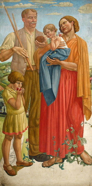 Stanley-Lewis: Colour-Study-for-the-Central-Group-of-Allegory,-c.-1929