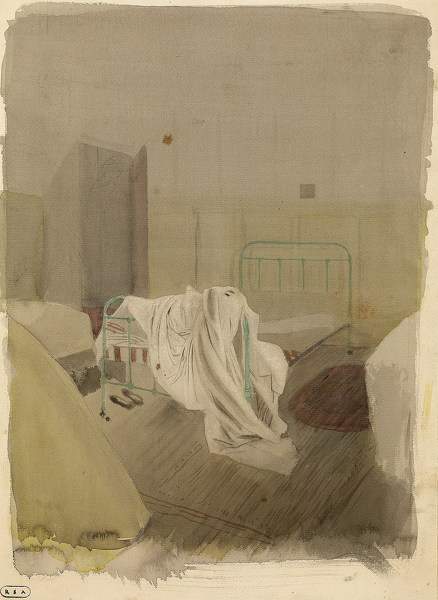Artist Robert Austin: Attic Room, Lingard House, with unmade bed, 1930s