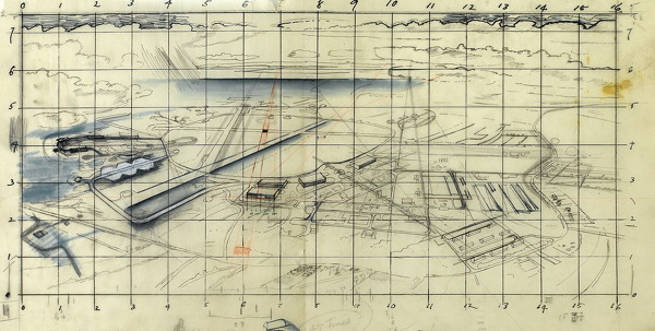 Artist Alan Sorrell: Study for An Aerial View of a Wartime Airfield, circa 1942