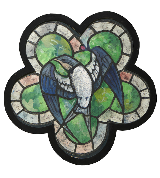 Artist Edward Irvine Halliday: Stained glass window design with Swallow
