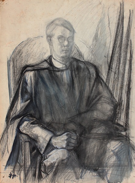 Artist Alan Sorrell: Self Portrait in Graduation Gown, circa 1927