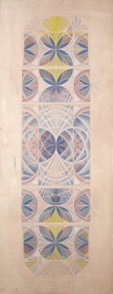 Design for the ceiling of the Mary Harris Memorial Chapel, (pale ground) University of Exeter, (1956 -