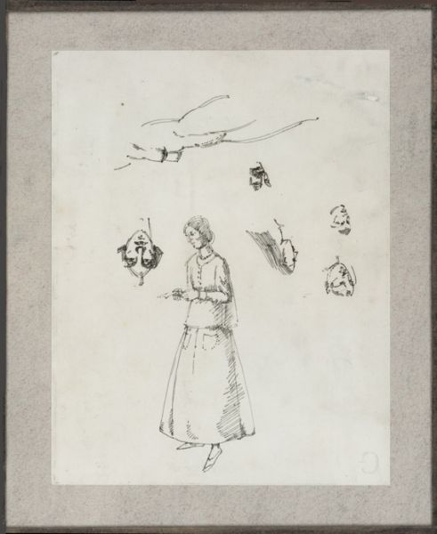 Sheet of Figure. Studies with self-portrait, circa 1922 -