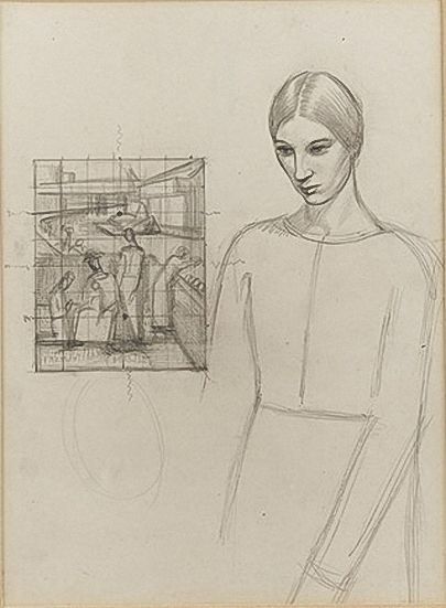 Self-portrait with Compositional Design, circa 1919 -