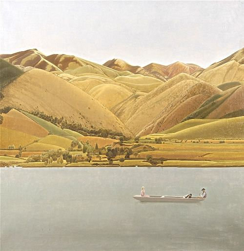 Edge of Abruzzi; Boat with three people on a lake, 1924-30 -