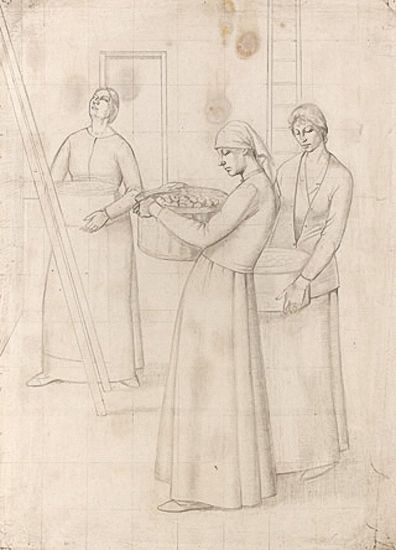 Study for 'Design for Wall Decoration' - Three Women Bearing Baskets of Apples, circa 1918 -