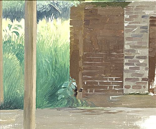 Landscape study with wooden post, circa 1930 -