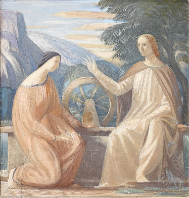 Study for Christ meeting the woman of Samaria at the well, for Kippen Kirk, circa 1930 -