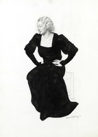 Artist Edward Irvine Halliday: Portrait of a woman seated, three quarter view, black evening dress, 1935
