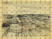 Artist Alan Sorrell: Sketch for An Aerial View of a Wartime Airfield, circa 1944