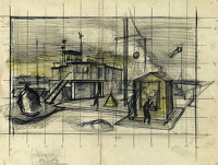 Artist Alan Sorrell: Study for Watch Office, RAF Station, circa 1944