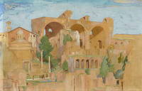 Artist Alfred Kingsley Lawrence: The Forum and Basilica of Constantine 2.3.24