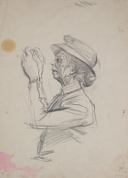 Artist Alan Sorrell: Study of Mrs Turner, for the mural at Turners Hardware shop in Hadleigh High Street, circa 1956