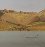 Artist Winifred Knights: Edge of Abruzzi; Boat with three people on a lake, 1924-30