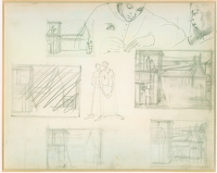 Artist Winifred Knights: Sheet of studies for design of wall decoration, circa 1918