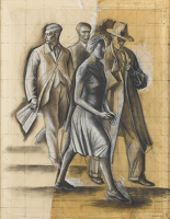Artist Alan Sorrell: Study for People Seeking After Wisdom, 1928