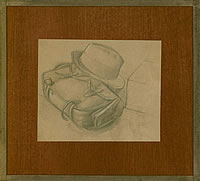 Artist Stanley Lewis: Study for Hyde Park: the Artists Painting satchel and hat