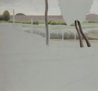 Artist Winifred Knights: Landscape with Fence, c. 1920