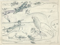 Artist Stanley Lewis: Study for The Attack on the Tirpitz by the Fleet Air Arm, 1944