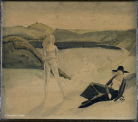 Artist Winifred Knights: Compositional study for Pompilia