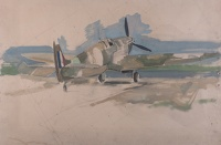 Artist Alfred Kingsley Lawrence: Rear view Spitfire