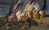 Artist Stanley Lewis: Farmstead on fire,near Llwyn-on , early 1920s