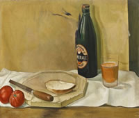 Artist Stanley Lewis: Still life with bottle of Ale, circa 1925