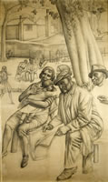 Artist Stanley Lewis: Study for Right Hand Side of Hyde Park in Summer, 1931